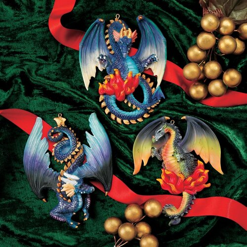 Design Toscano Three Dragons of Talbooth Sculptural Holiday Ornament