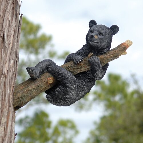 Design Toscano Up A Tree Hanging Bear Cub Statue