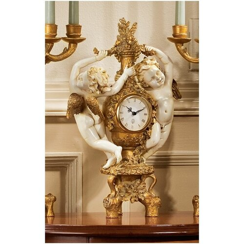 The Cherub's Harvest Clock in Ivory and Antiqued Faux Gold