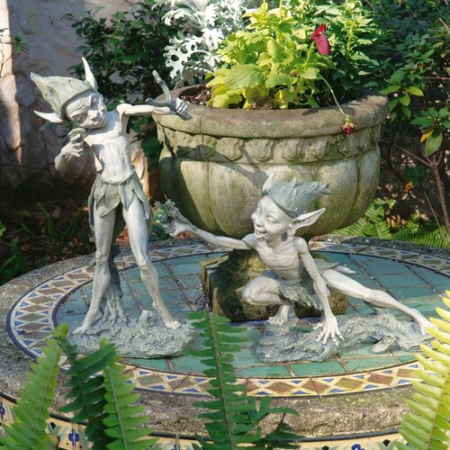 Sling and Stretch Garden Pixie Statue (Set of 2)
