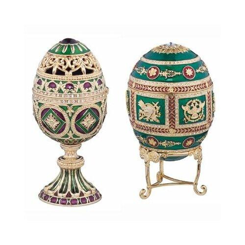 Design Toscano The Emerald Collection Faberge-Style Enameled Redonka and Minishka Egg Set