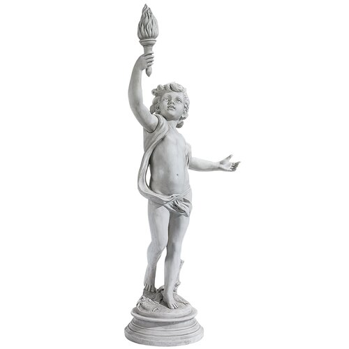 Cherub Sentinel Set Lighting the Heavens Grande Right Arm Raised Statue