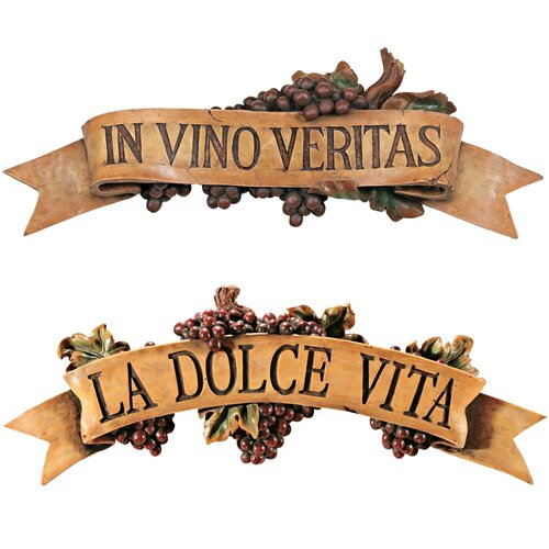 Design Toscano 2 Piece La Dolce Vita and In Vino Veritas Wall Décor Set