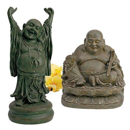 Design Toscano Jolly Hotei and Laughing Buddha 2 Piece Sanctuary Figurine Set