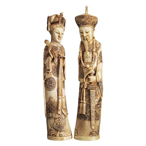 2 Piece Mandarin Ivory Oliphants Emperor and Empress Figurine