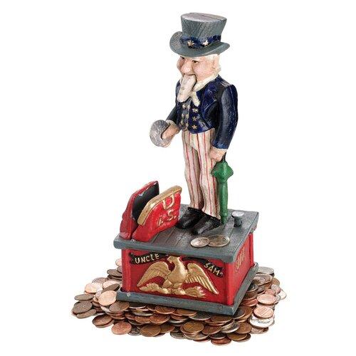 Design Toscano Uncle Sam Mechanical Bank Figurine