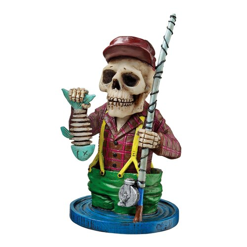 Design Toscano Bad to the Bone Skeleton Sportsmen - Fisherman Skeleton Statue