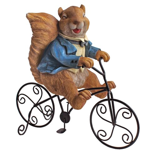 Special Delivery Squirrel Bicycle Messenger Garden Statue