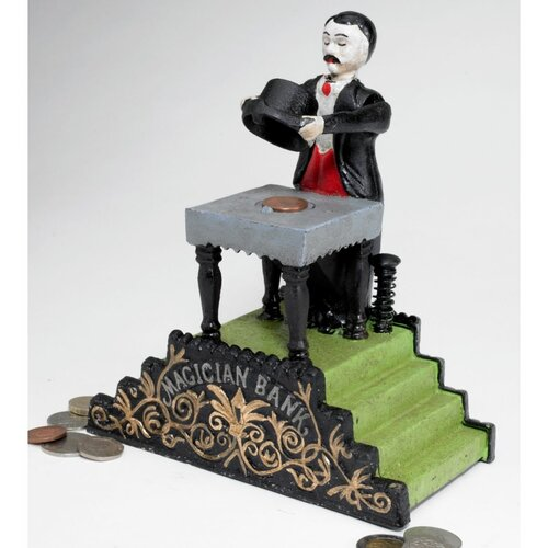 Design Toscano Authentic Maitland the Magician Foundry Mechanical Bank Figurine