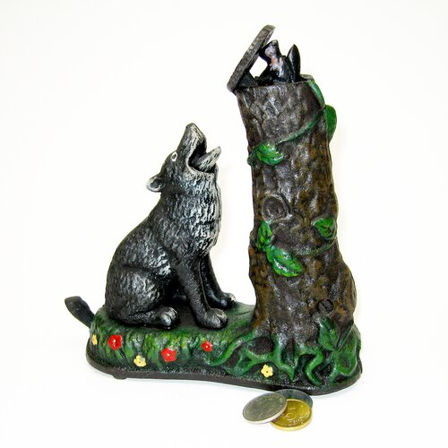 Wolf and Squirrel Collectors' Die Cast Mechanical Coin Bank Sculpture