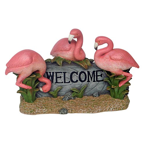 Design Toscano Flamingo Welcome Garden Sign