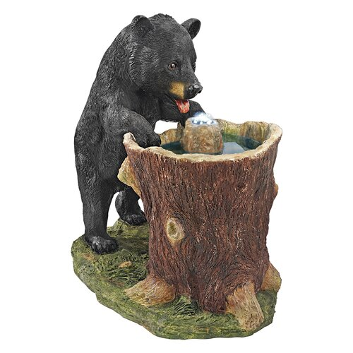 Guzzling Gulp Black Bear Garden Fountain Statue