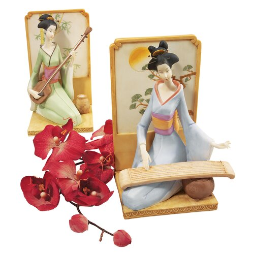 2 Piece Japanese Geisha Musical Court Figurine
