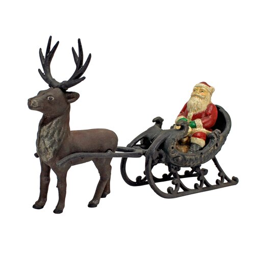 Design Toscano Christmas Santa on Sleigh with Reindeer Statue