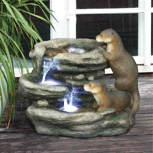 Bright Waters Otters Garden Fountain Sculpture