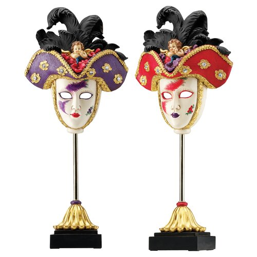 Design Toscano 2 Piece Venetian Grand Ball Display Masks Sculpture