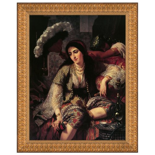 Algerian Woman and Her Slave, 1860 by Ange Tissier Framed Painting Print