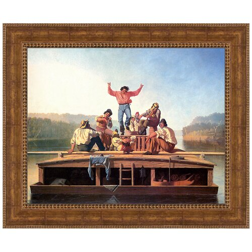 Jolly Flatboatmen in Port, 1857 by George Caleb Bingham Framed Painting Print