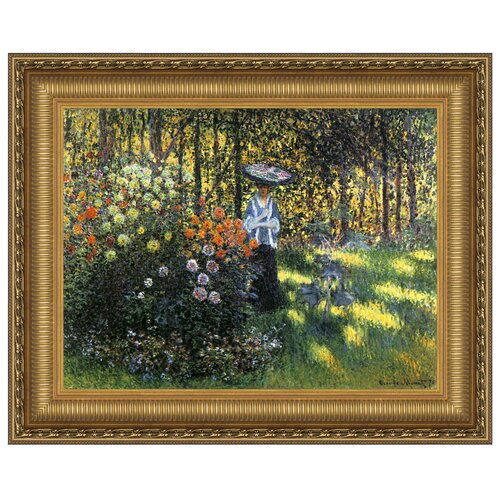 Design Toscano Woman with a Parasol in the Garden in Argenteuil, 1875 by Claude Monet Framed Painting Print
