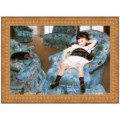Little Girl in a Blue Armchair, 1878 by Mary Cassatt Framed Painting Print