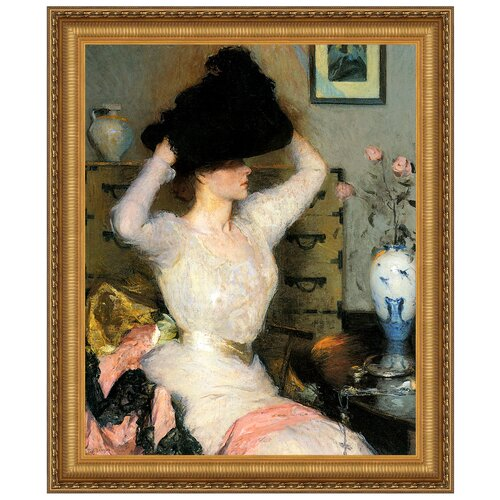 The Black Hat (Lady Trying on a Hat), 1904 by Frank W. Benson Framed Painting ...