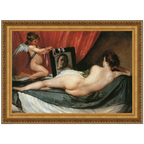 Venus at her Mirror (The Rokeby Venus), 1651 by Diego Velazquez Framed Painting Print