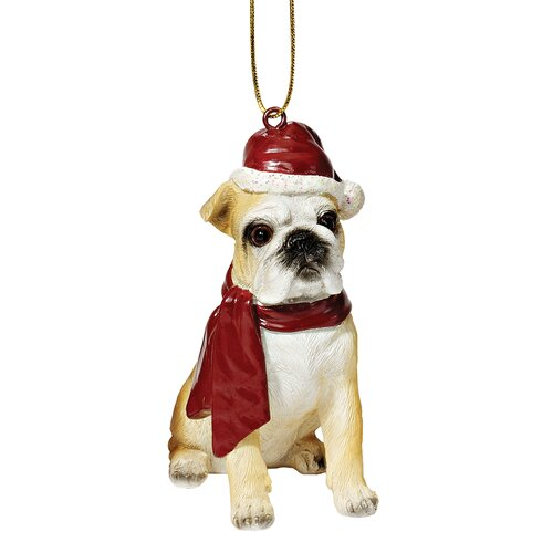Bulldog Holiday Dog Ornament Sculpture