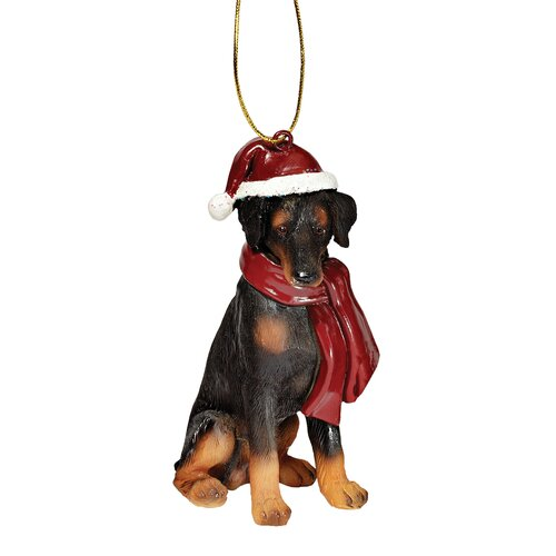 Doberman Holiday Dog Ornament Sculpture