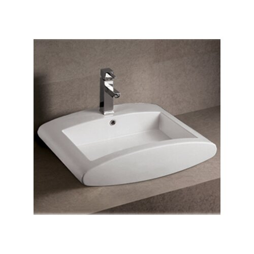 Whitehaus Collection Isabella Rectangular Bathroom Sink with Overflow and Center Drain
