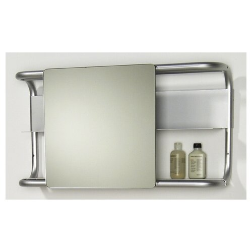 Whitehaus Collection Aeri Rectangular Wall Mount Aluminum Frame with Two Shelves and Sliding Mirror