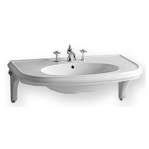 China Wall Mount U-Shaped Bathroom Sink with Ceramic Shelf Supports