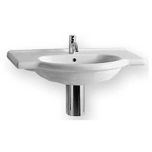 Whitehaus Collection China Wall Mount Bath Vanity Bathroom Sink with Integrated Overflow