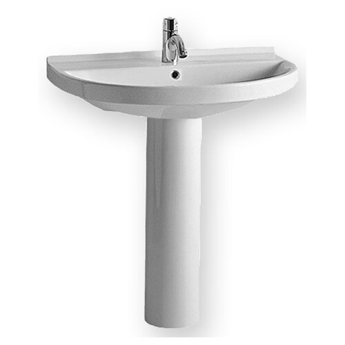 Whitehaus Collection China Pedestal Bathroom Sink with U-shaped Basin