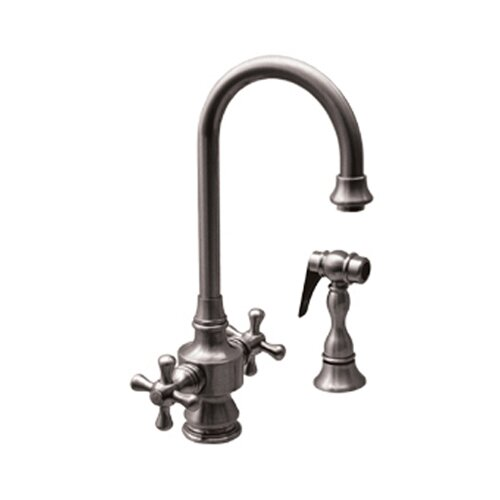 Whitehaus Collection Vintage III Two Handle Single Hole Bar Faucet with Cross Handles and Side Spray