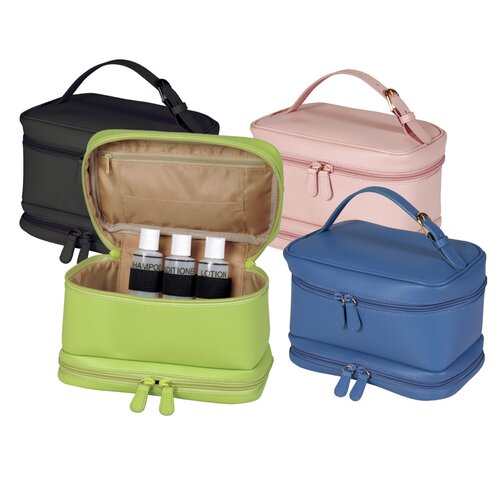 Royce Leather Executive Travel Makeup Cosmetic Toiletry Bag