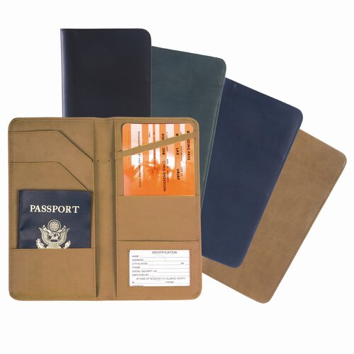 Royce Leather Checkpoint Man-Made Leather Passport Ticket Holder