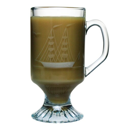 Susquehanna Glass Footed Mug 10 oz. Hand Cut Clipper Ship Pattern