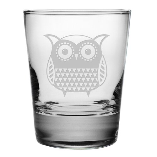 Susquehanna Glass Folk Art Owl Double Old Fashioned Glass