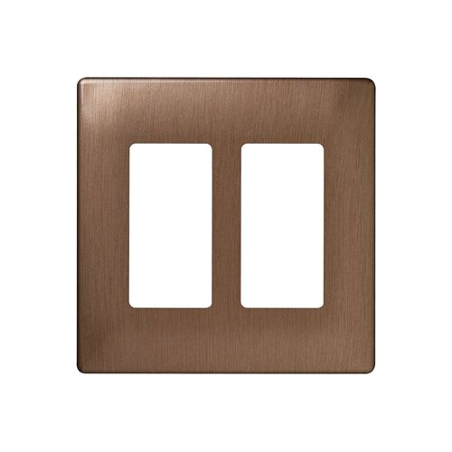 "Legrand 4.91"" Two Gang Decorator Screwless Wall Plate in Brushed bronze"