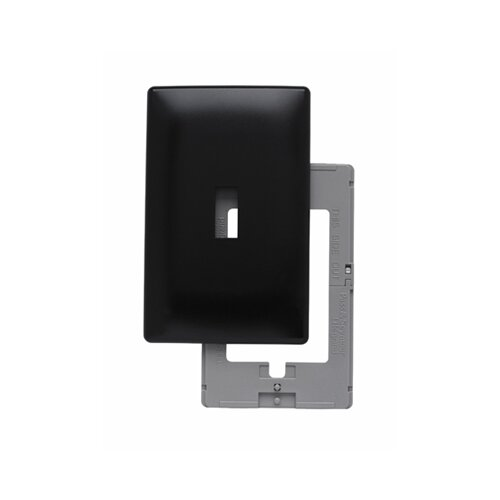 Legrand Single Gang Toggle Opening Screwless Wall Plate in Black