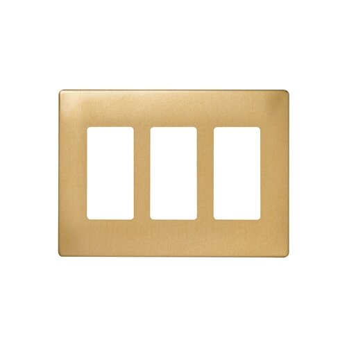 Legrand Three Gang Decorator Screwless Wall Plate in Brushed brass