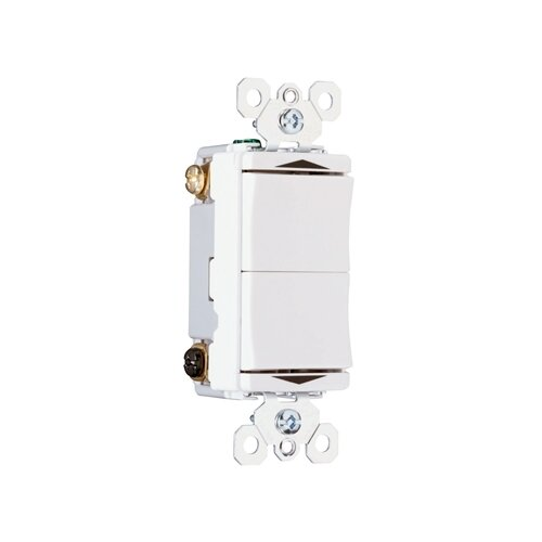 Legrand TradeMaster 15A120V Decorator Double Throw Momentary Contact Switch Center Off in White