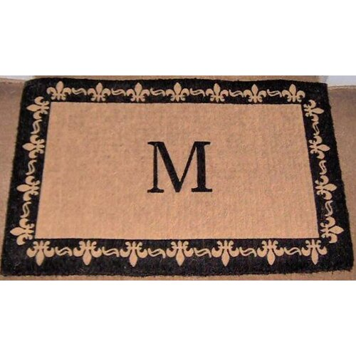 Geo crafts imperial fleur de lis border monogram golden doormat reviews wayfair - Fleur de lis doormat ...