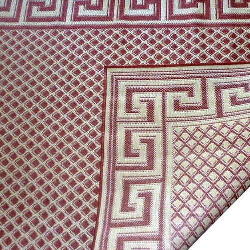 Geo Crafts, Inc Greek Key Burgundy/Cream Indoor/Outdoor Rug