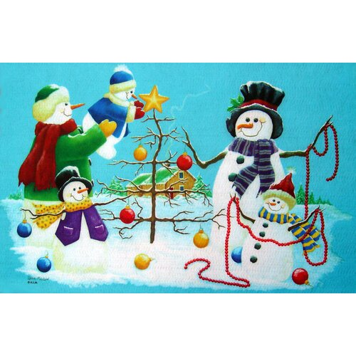 Custom Printed Rugs Seasonal Holiday Snowmen Doormat