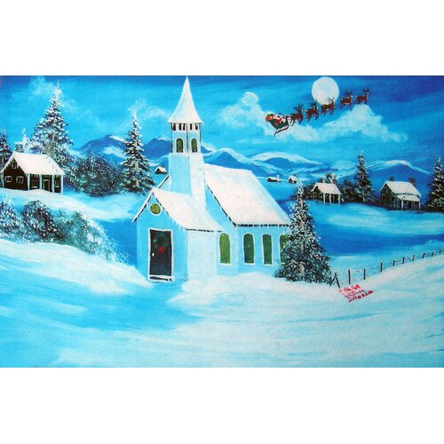 Custom Printed Rugs Seasonal Holiday Snowy Chapel Doormat