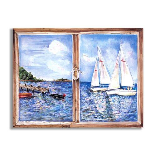 Sailboats Painting Print Plaque