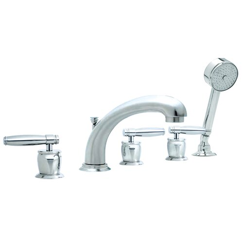 Sumerain Triple Handle Deck Mount Waterfall Tub Faucet With Handshower
