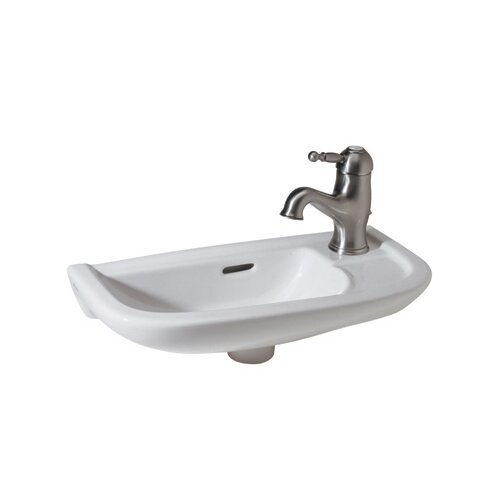 Rohl Linea Hand Rinse Basin Sink with Overflow and Single Faucet Hole in White