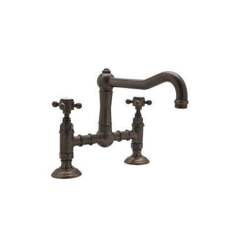 Country Kitchen Deck Mount Two Handle Widespread Bridge Faucet